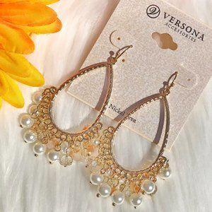 Boho Earrings Drop Pearls Bling Goldtone Dangles
